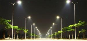 Esempio di città ecosostenibile con illuminazione a led